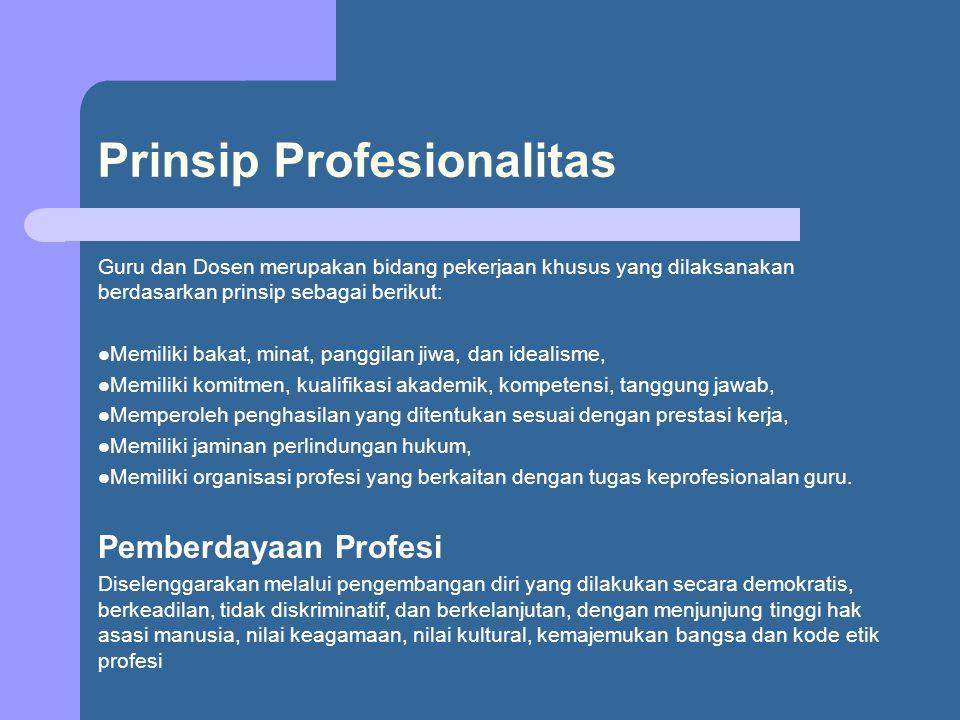 Prinsip Profesionalitas Guru dan Dosen merupakan bidang pekerjaan khusus yang dilaksanakan berdasarkan prinsip sebagai berikut: Memiliki bakat, minat,