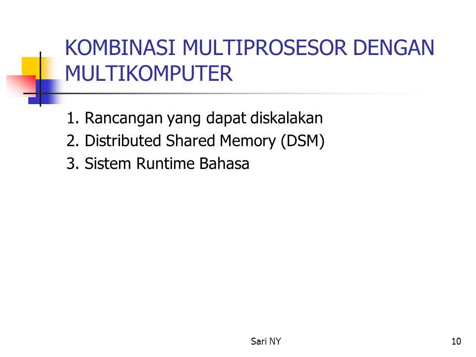 Sari NY10 KOMBINASI MULTIPROSESOR DENGAN MULTIKOMPUTER 1. Rancangan yang dapat diskalakan 2. Distributed Shared Memory (DSM) 3. Sistem Runtime Bahasa