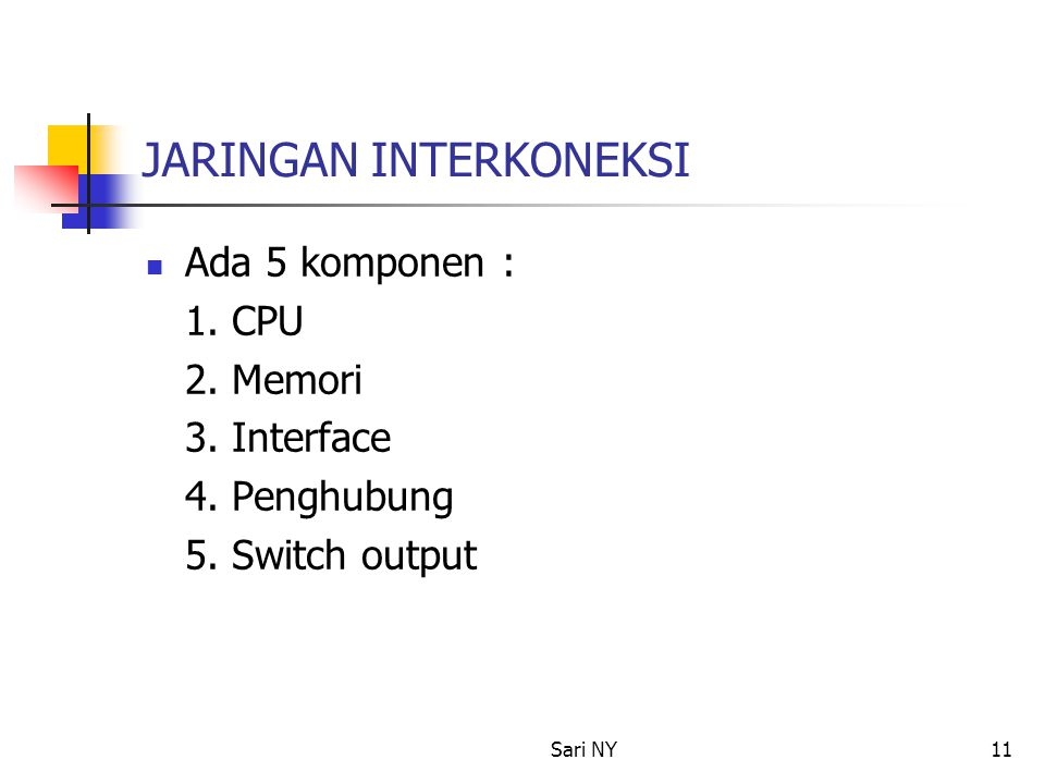 Sari NY11 JARINGAN INTERKONEKSI Ada 5 komponen : 1. CPU 2. Memori 3. Interface 4. Penghubung 5. Switch output