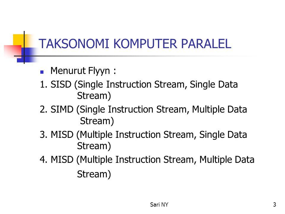 Sari NY4 SISD (Single Instruction Stream, Single Data Stream) Satu prosesor Satu instruksi stream Data disimpan di satu memori Di sebut Uni-processor