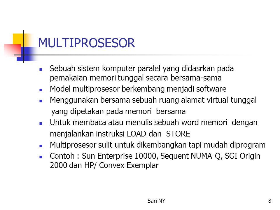 Sari NY8 MULTIPROSESOR Sebuah sistem komputer paralel yang didasrkan pada pemakaian memori tunggal secara bersama-sama Model multiprosesor berkembang menjadi software Menggunakan bersama sebuah ruang alamat virtual tunggal yang dipetakan pada memori bersama Untuk membaca atau menulis sebuah word memori dengan menjalankan instruksi LOAD dan STORE Multiprosesor sulit untuk dikembangkan tapi mudah diprogram Contoh : Sun Enterprise 10000, Sequent NUMA-Q, SGI Origin 2000 dan HP/ Convex Exemplar