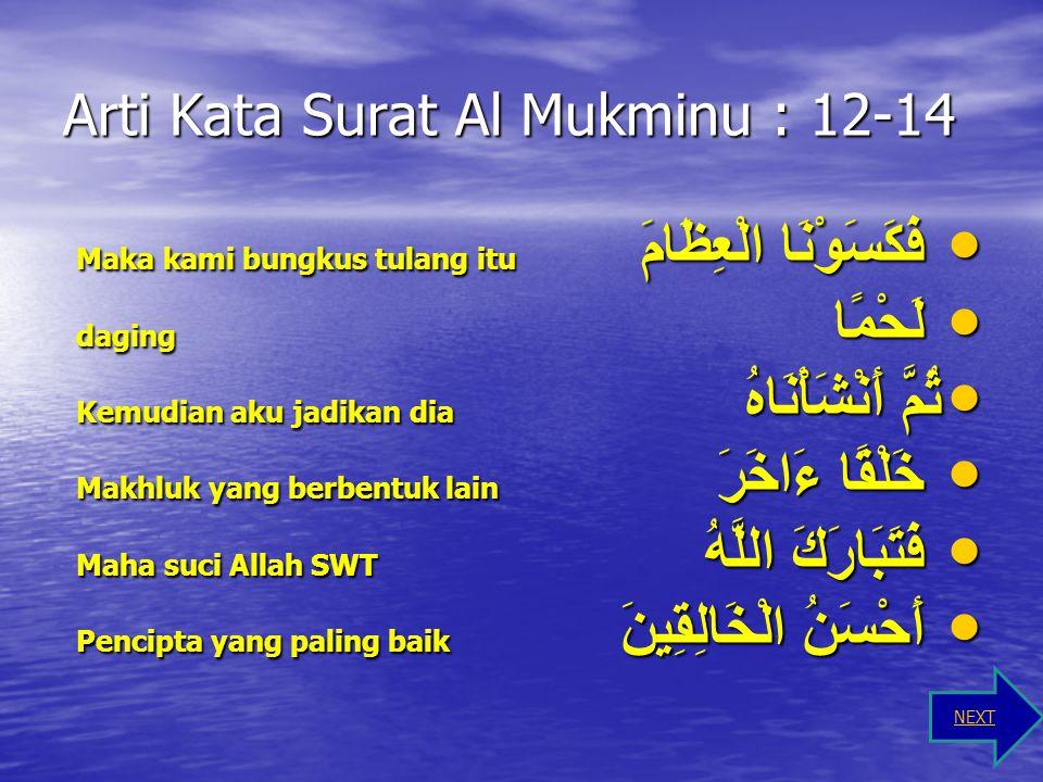 Arti Kata Surat Al Mukminu : 12-14 نُطْفَةً Air Mani نُطْفَةً Air Mani قَرَارٍ مَكِينٍ Tempat Yang kokoh قَرَارٍ مَكِينٍ Tempat Yang kokoh عَلَقَةً Se