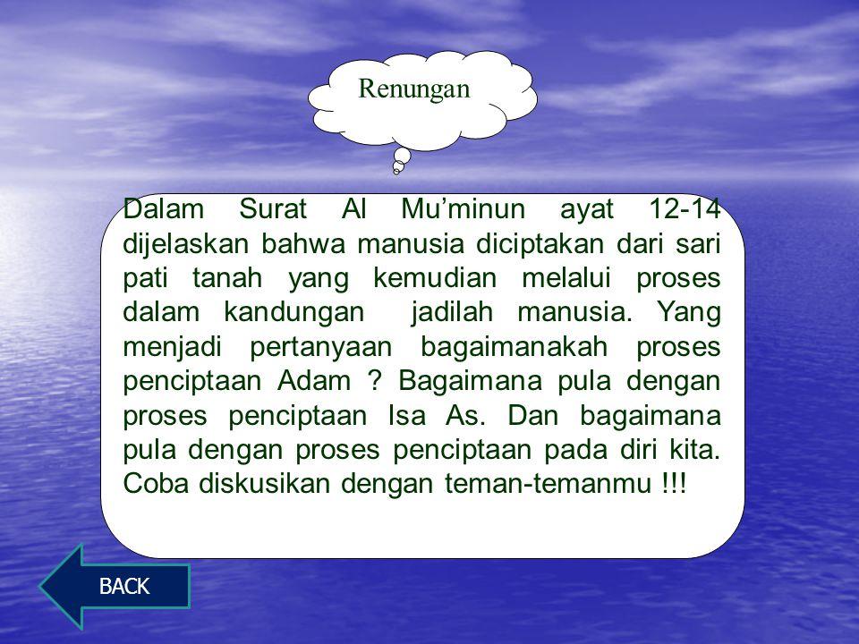 Kesimpulan kandungan ayat Manusia diciptakan oleh Allah dari saripati yang berasal dari tanah Manusia diciptakan oleh Allah dari saripati yang berasal