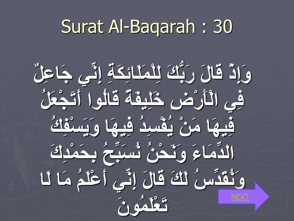 1.Surat Al- Baqarah ayat 30 tentang manusia sebagai khalifah 2.Surat Al-Mukminun 12-14 tentang proses kejadian Manusia. 3.Surat Az-Zariat : 56 tentang