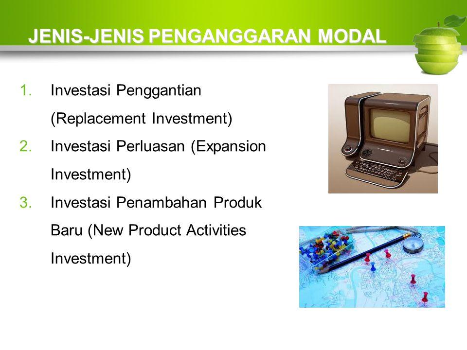JENIS-JENIS PENGANGGARAN MODAL 1.Investasi Penggantian (Replacement Investment) 2.Investasi Perluasan (Expansion Investment) 3.Investasi Penambahan Produk Baru (New Product Activities Investment)