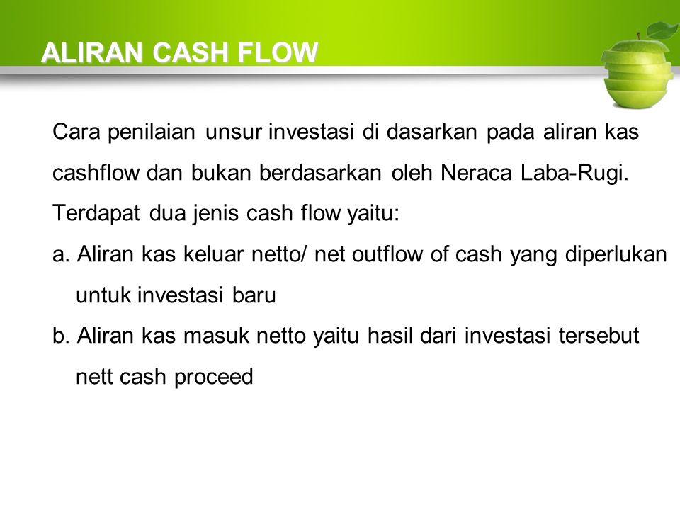 ALIRAN CASH FLOW Cara penilaian unsur investasi di dasarkan pada aliran kas cashflow dan bukan berdasarkan oleh Neraca Laba-Rugi.