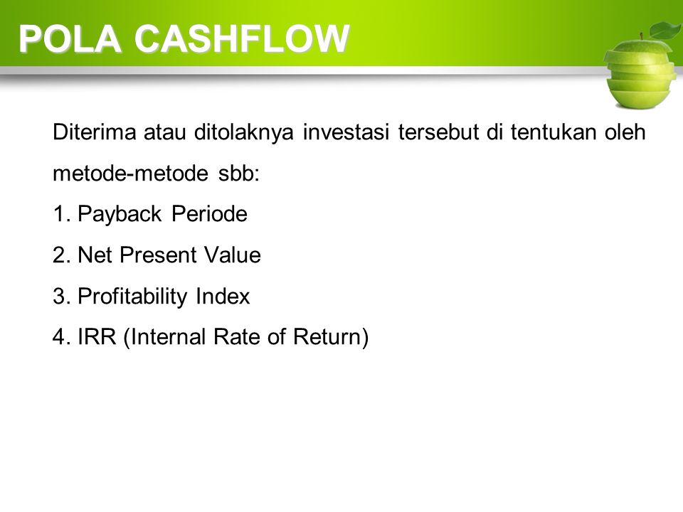 POLA CASHFLOW Diterima atau ditolaknya investasi tersebut di tentukan oleh metode-metode sbb: 1.