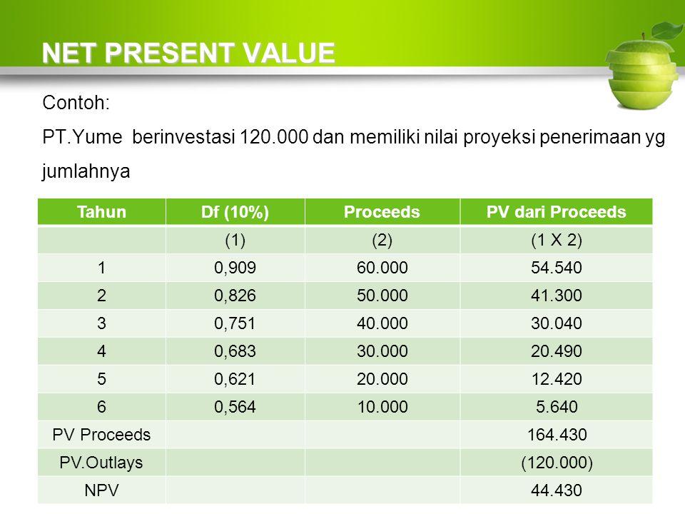 NET PRESENT VALUE Contoh: PT.Yume berinvestasi 120.000 dan memiliki nilai proyeksi penerimaan yg jumlahnya tidak sama pertahunnya, sbb: TahunDf (10%)ProceedsPV dari Proceeds (1)(2)(1 X 2) 10,90960.00054.540 20,82650.00041.300 30,75140.00030.040 40,68330.00020.490 50,62120.00012.420 60,56410.0005.640 PV Proceeds164.430 PV.Outlays(120.000) NPV44.430