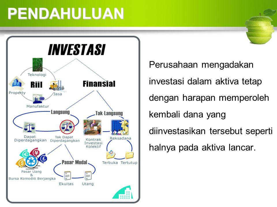 Perusahaan mengadakan investasi dalam aktiva tetap dengan harapan memperoleh kembali dana yang diinvestasikan tersebut seperti halnya pada aktiva lancar.