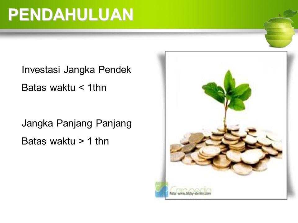 Investasi Jangka Pendek Batas waktu < 1thn Jangka Panjang Panjang Batas waktu > 1 thn PENDAHULUAN