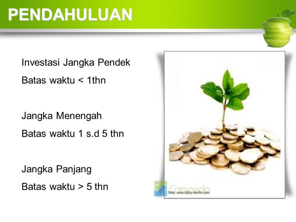 Investasi Jangka Pendek Batas waktu < 1thn Jangka Menengah Batas waktu 1 s.d 5 thn Jangka Panjang Batas waktu > 5 thn PENDAHULUAN