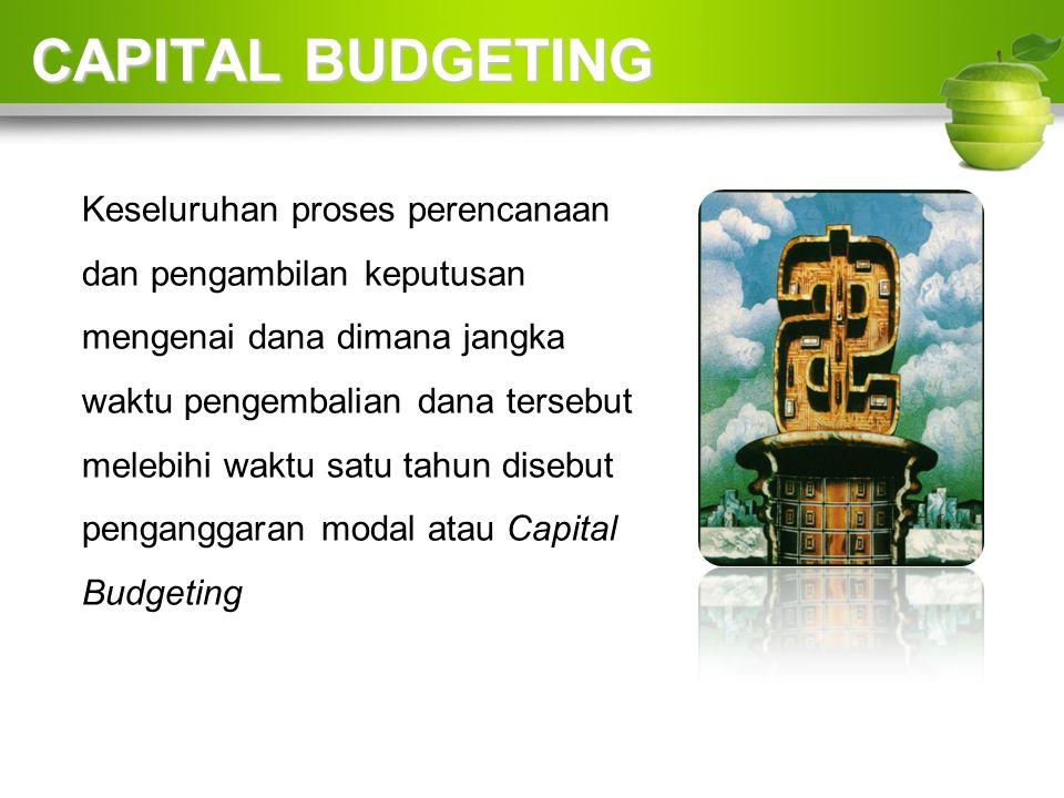 CAPITAL BUDGETING Keseluruhan proses perencanaan dan pengambilan keputusan mengenai dana dimana jangka waktu pengembalian dana tersebut melebihi waktu satu tahun disebut penganggaran modal atau Capital Budgeting