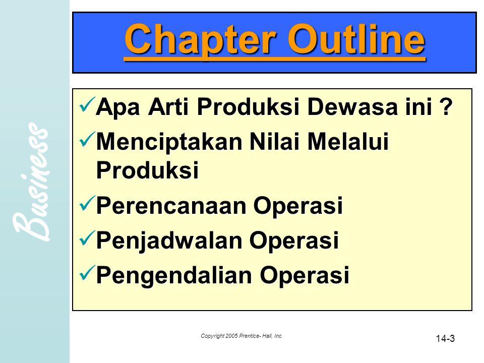 Business Copyright 2005 Prentice- Hall, Inc. 14-3 Chapter Outline Apa Arti Produksi Dewasa ini .