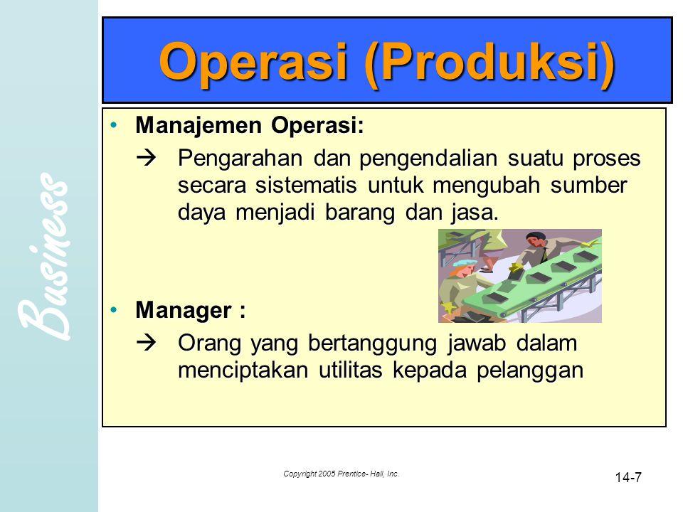 Business Copyright 2005 Prentice- Hall, Inc. 14-18 Tata Ruang untuk Memproduksi Barang
