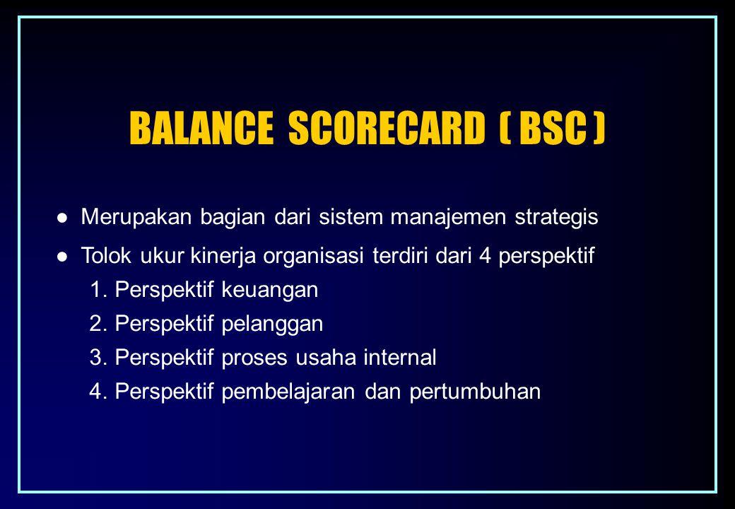 BALANCE SCORECARD ( BSC ) ● Merupakan bagian dari sistem manajemen strategis ● Tolok ukur kinerja organisasi terdiri dari 4 perspektif 1.Perspektif ke