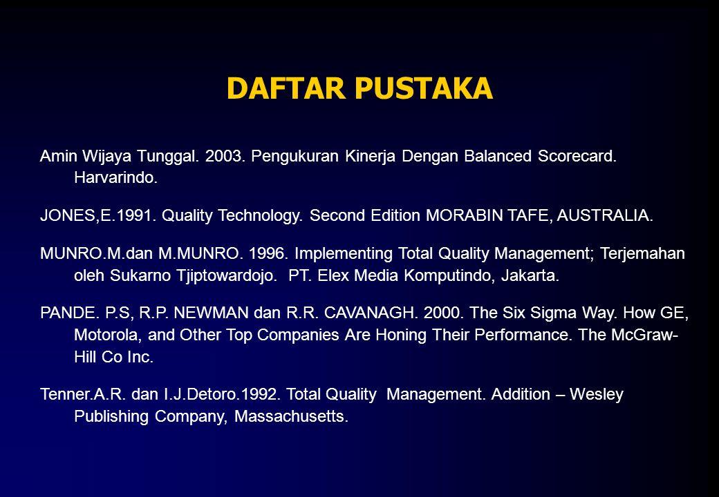DAFTAR PUSTAKA Amin Wijaya Tunggal. 2003. Pengukuran Kinerja Dengan Balanced Scorecard. Harvarindo. JONES,E.1991. Quality Technology. Second Edition M