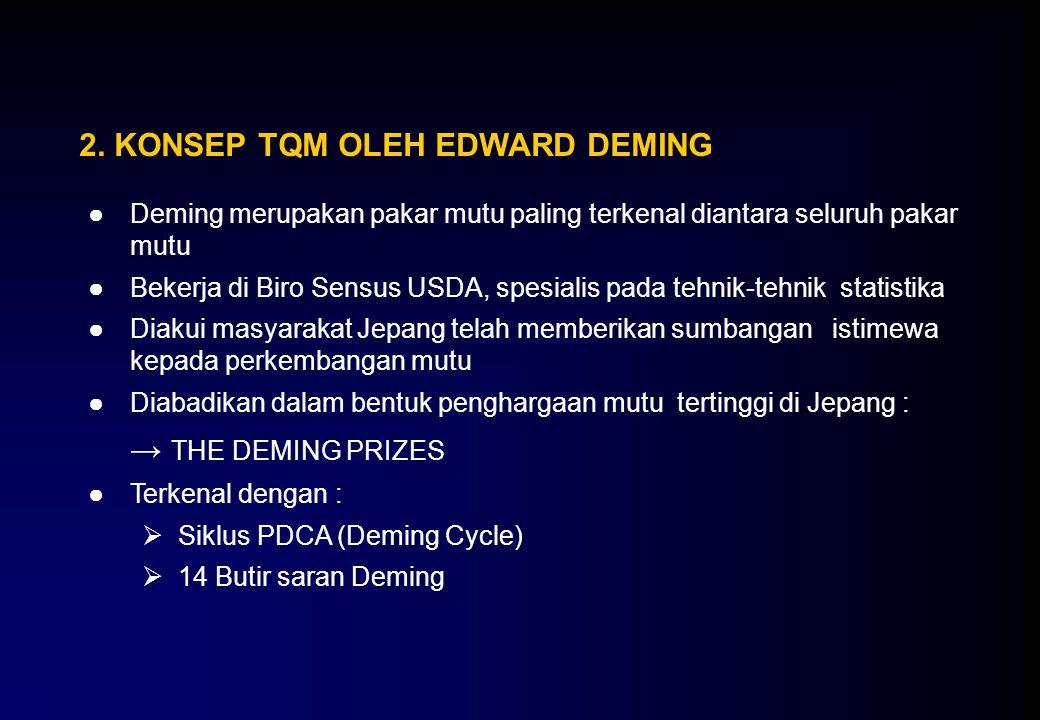 2. KONSEP TQM OLEH EDWARD DEMING ●Deming merupakan pakar mutu paling terkenal diantara seluruh pakar mutu ●Bekerja di Biro Sensus USDA, spesialis pada