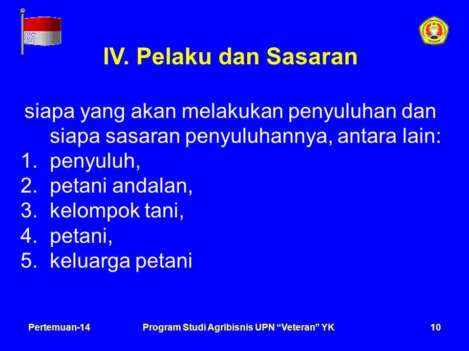 11Pertemuan-14Program Studi Agribisnis UPN Veteran YK V.