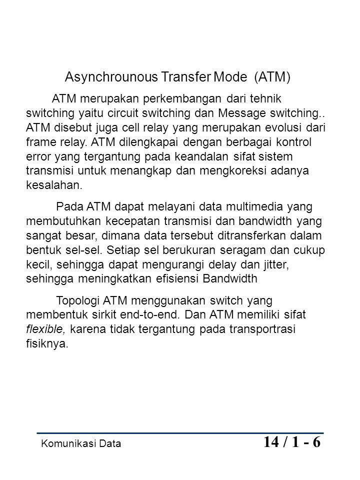 Komunikasi Data 14 / 1 - 6 Asynchrounous Transfer Mode (ATM) ATM merupakan perkembangan dari tehnik switching yaitu circuit switching dan Message swit
