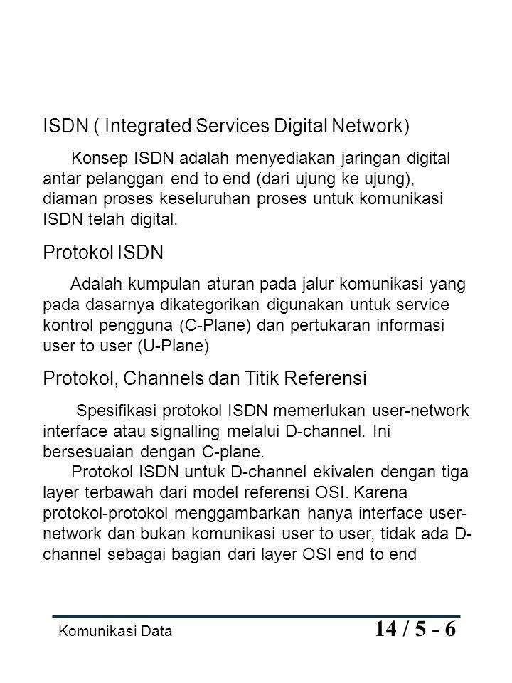 Komunikasi Data 14 / 6 - 6 Tiga layer protokol untuk D-channel adalah sebagai berikut: Layer 1 Menggambarkan koneksi fisik antara TE dan NT, termasuk konektror, skema pengkodean jalur, framing, dan karakteristik elektrik.