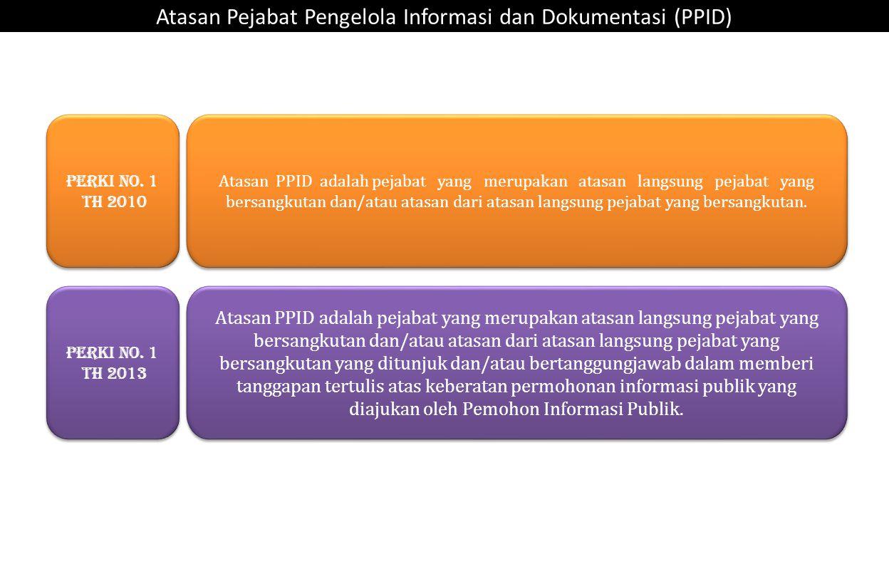 Atasan PPID adalah pejabat yang merupakan atasan langsung pejabat yang bersangkutan dan/atau atasan dari atasan langsung pejabat yang bersangkutan. At