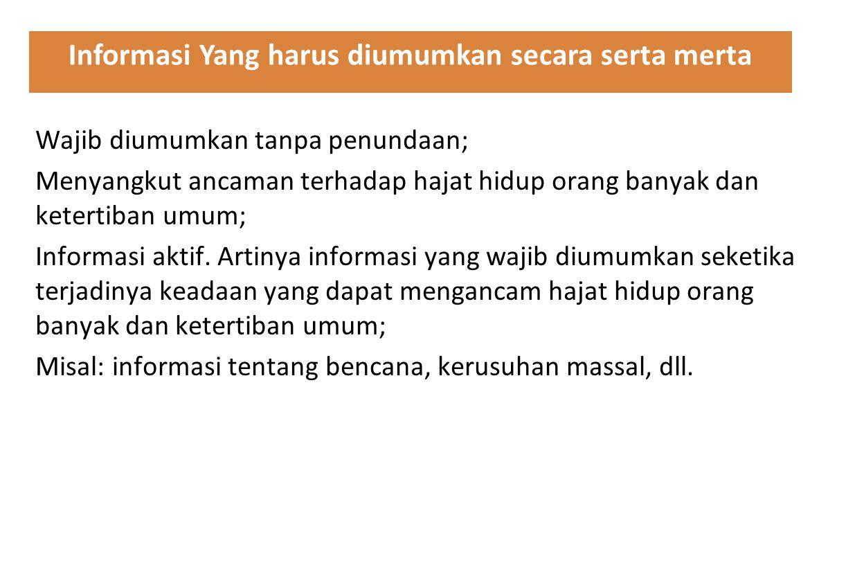 INFORMASI SETIAP SAAT Informasi yang Wajib Tersedia Setiap Saat  Informasi Pasif.