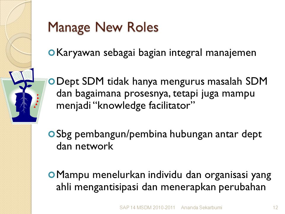 Manage New Roles Karyawan sebagai bagian integral manajemen Dept SDM tidak hanya mengurus masalah SDM dan bagaimana prosesnya, tetapi juga mampu menjadi knowledge facilitator Sbg pembangun/pembina hubungan antar dept dan network Mampu menelurkan individu dan organisasi yang ahli mengantisipasi dan menerapkan perubahan SAP 14 MSDM 2010-2011Ananda Sekarbumi12