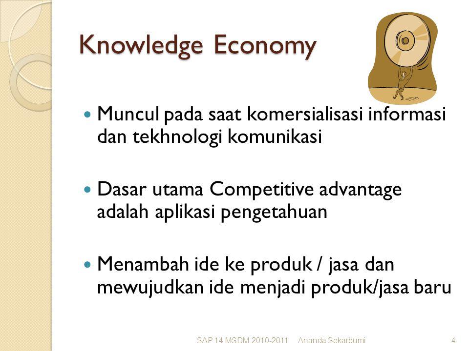 Knowledge Economy Muncul pada saat komersialisasi informasi dan tekhnologi komunikasi Dasar utama Competitive advantage adalah aplikasi pengetahuan Menambah ide ke produk / jasa dan mewujudkan ide menjadi produk/jasa baru SAP 14 MSDM 2010-2011Ananda Sekarbumi4