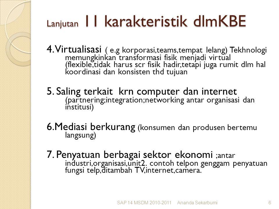 Lanjutan 11 karakteristik dlmKBE 4. Virtualisasi ( e.g korporasi,teams,tempat lelang) Tekhnologi memungkinkan transformasi fisik menjadi virtual (flex