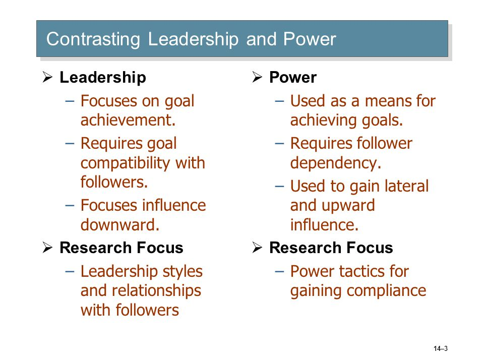 14–3 Contrasting Leadership and Power  Leadership –Focuses on goal achievement.
