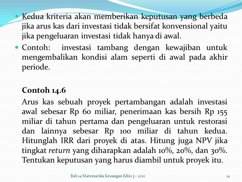 Kedua kriteria akan memberikan keputusan yang berbeda jika arus kas dari investasi tidak bersifat konvensional yaitu jika pengeluaran investasi tidak