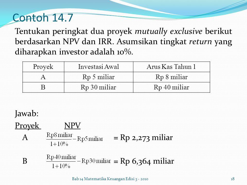 Contoh 14.7 Tentukan peringkat dua proyek mutually exclusive berikut berdasarkan NPV dan IRR. Asumsikan tingkat return yang diharapkan investor adalah