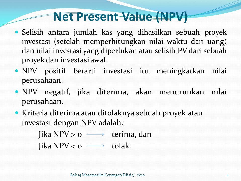 Net Present Value (NPV) Selisih antara jumlah kas yang dihasilkan sebuah proyek investasi (setelah memperhitungkan nilai waktu dari uang) dan nilai in