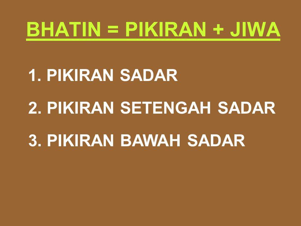 BHATIN = PIKIRAN + JIWA 1. PIKIRAN SADAR 2. PIKIRAN SETENGAH SADAR 3. PIKIRAN BAWAH SADAR