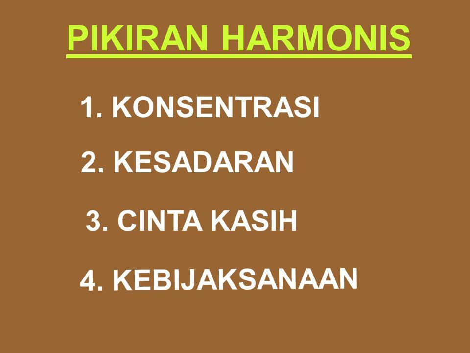 PIKIRAN HARMONIS 1. KONSENTRASI 2. KESADARAN 4. KEBIJAKSANAAN 3. CINTA KASIH