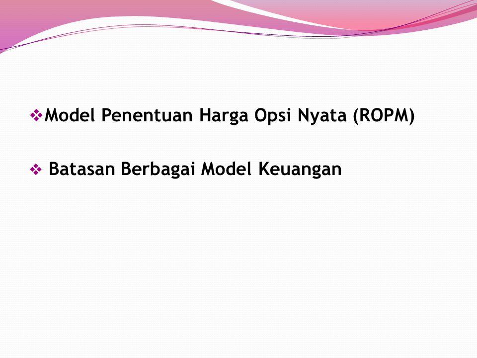  Model Penentuan Harga Opsi Nyata (ROPM)  Batasan Berbagai Model Keuangan