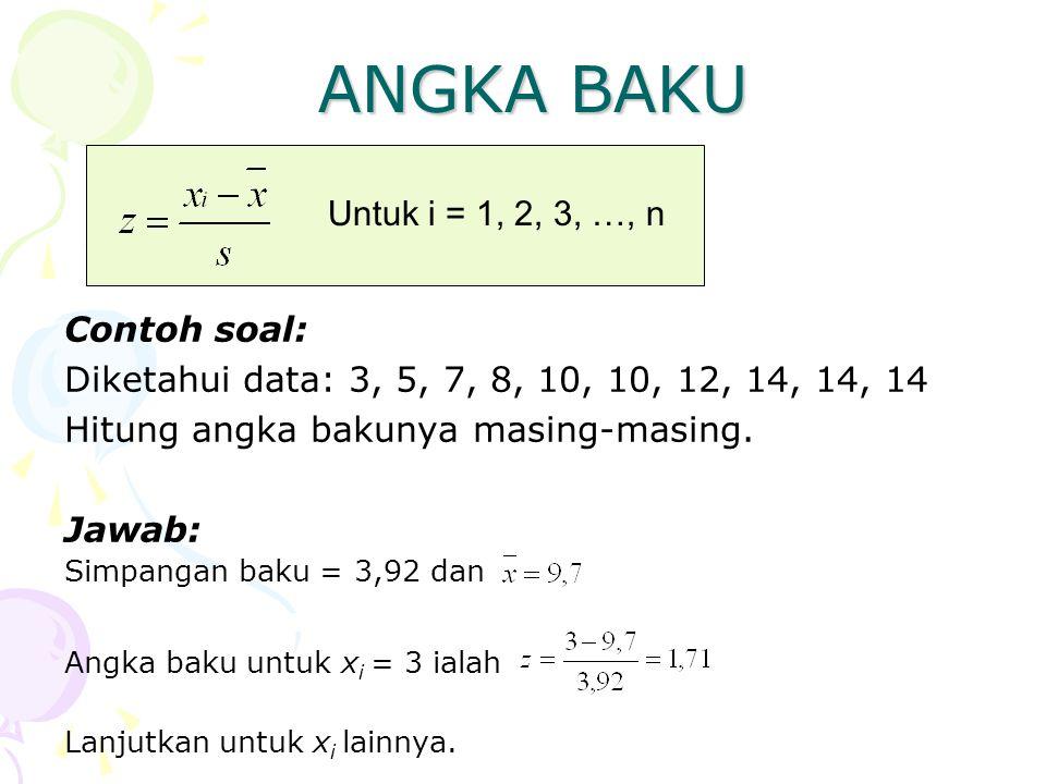 ANGKA BAKU Contoh soal: Diketahui data: 3, 5, 7, 8, 10, 10, 12, 14, 14, 14 Hitung angka bakunya masing-masing. Jawab: Lanjutkan untuk x i lainnya. Unt