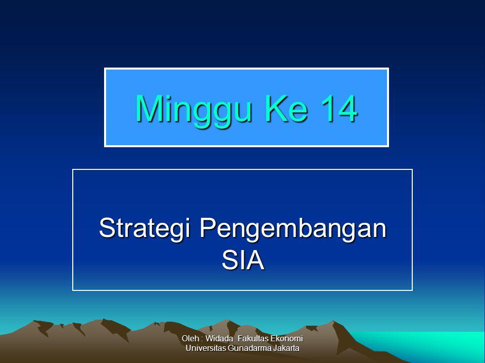Oleh : Widada Fakultas Ekonomi Universitas Gunadarma Jakarta Minggu Ke 14 Strategi Pengembangan SIA