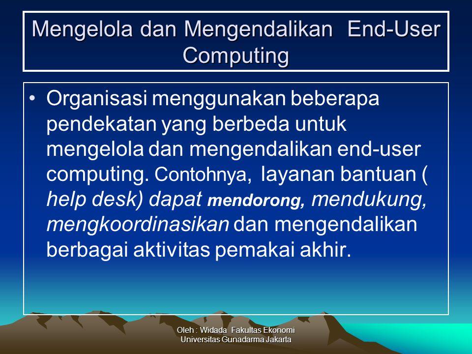 Oleh : Widada Fakultas Ekonomi Universitas Gunadarma Jakarta Mengelola dan Mengendalikan End-User Computing Organisasi menggunakan beberapa pendekatan