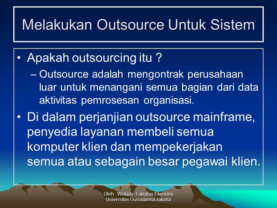 Oleh : Widada Fakultas Ekonomi Universitas Gunadarma Jakarta Melakukan Outsource Untuk Sistem Apakah outsourcing itu ? –Outsource adalah mengontrak pe