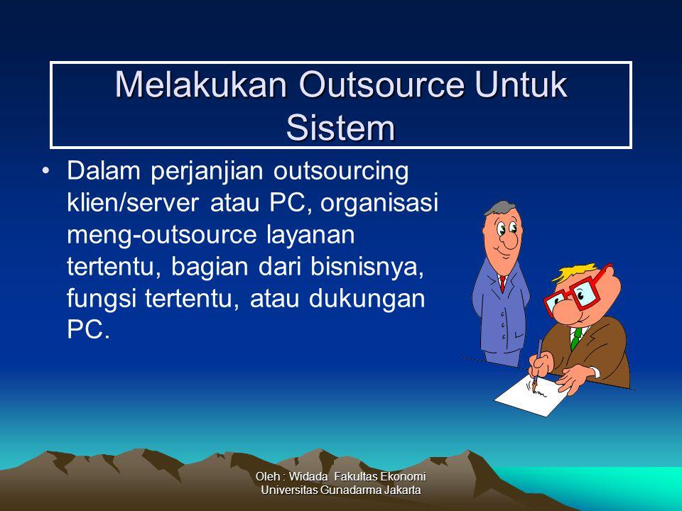 Oleh : Widada Fakultas Ekonomi Universitas Gunadarma Jakarta Melakukan Outsource Untuk Sistem Dalam perjanjian outsourcing klien/server atau PC, organ