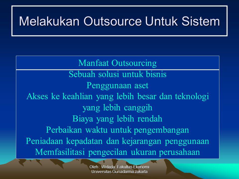 Oleh : Widada Fakultas Ekonomi Universitas Gunadarma Jakarta Melakukan Outsource Untuk Sistem Manfaat Outsourcing Sebuah solusi untuk bisnis Penggunaa