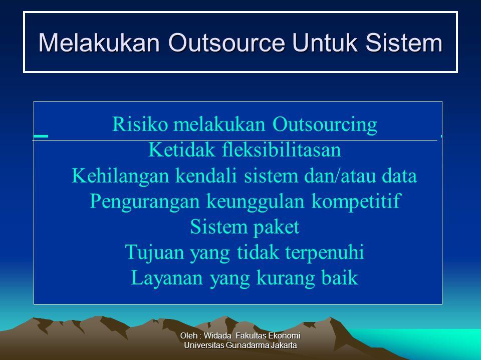 Oleh : Widada Fakultas Ekonomi Universitas Gunadarma Jakarta Melakukan Outsource Untuk Sistem Risiko melakukan Outsourcing Ketidak fleksibilitasan Keh