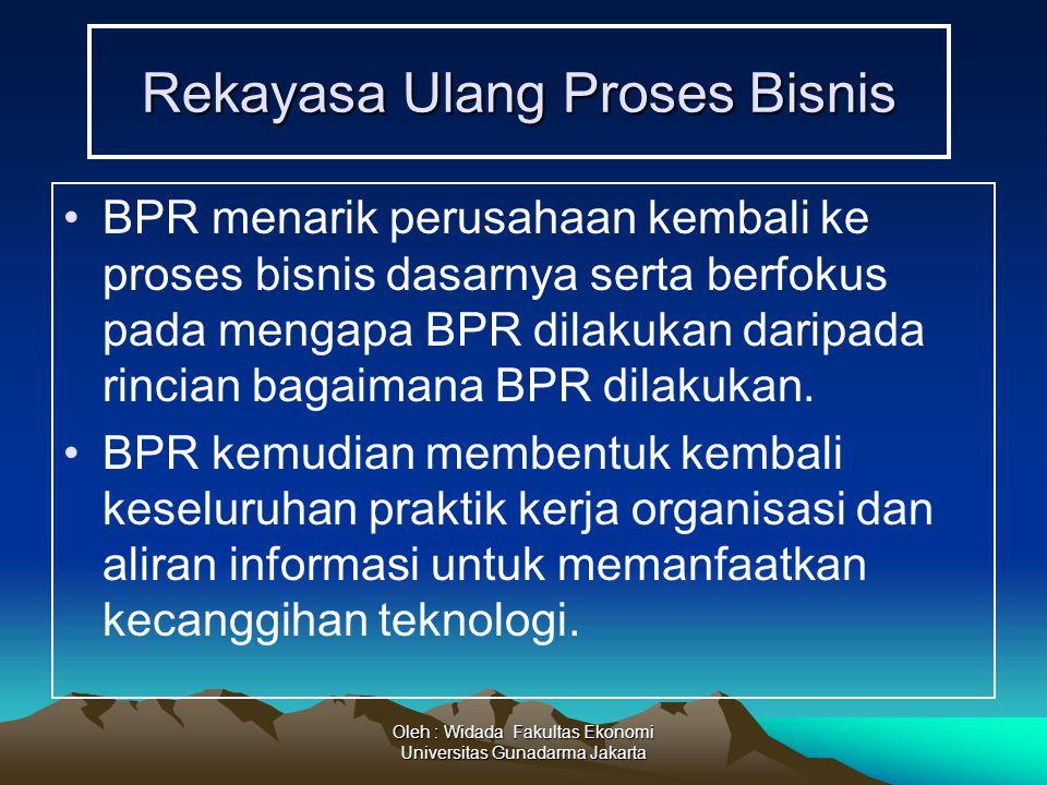 Oleh : Widada Fakultas Ekonomi Universitas Gunadarma Jakarta Rekayasa Ulang Proses Bisnis BPR menarik perusahaan kembali ke proses bisnis dasarnya ser