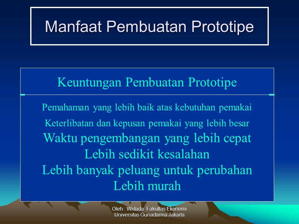 Oleh : Widada Fakultas Ekonomi Universitas Gunadarma Jakarta Manfaat Pembuatan Prototipe Keuntungan Pembuatan Prototipe Pemahaman yang lebih baik atas