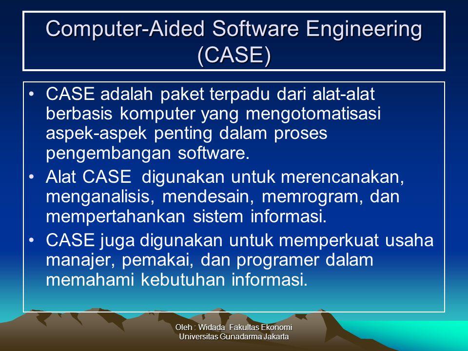 Oleh : Widada Fakultas Ekonomi Universitas Gunadarma Jakarta Computer-Aided Software Engineering (CASE) CASE adalah paket terpadu dari alat-alat berba