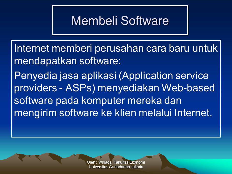 Oleh : Widada Fakultas Ekonomi Universitas Gunadarma Jakarta Membeli Software Internet memberi perusahan cara baru untuk mendapatkan software: Penyedi