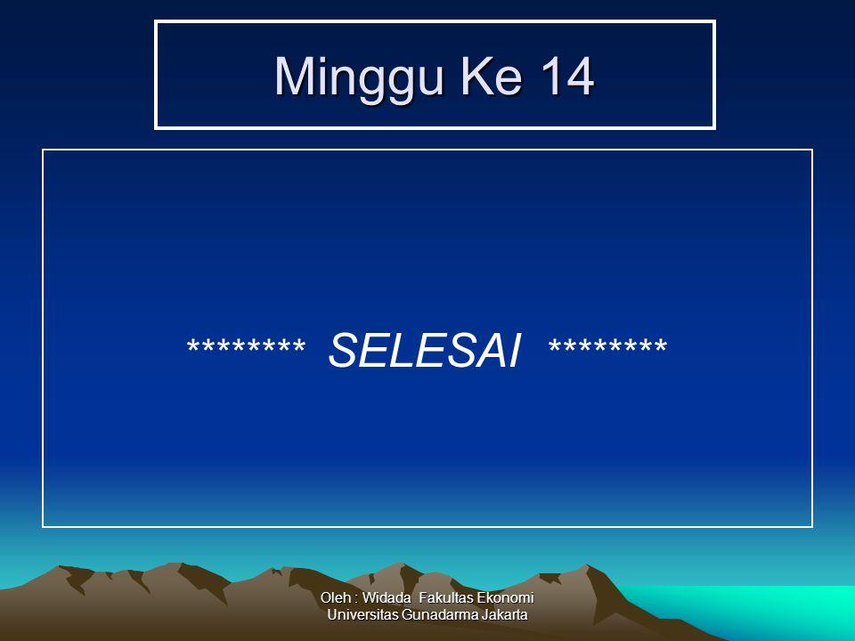 Oleh : Widada Fakultas Ekonomi Universitas Gunadarma Jakarta Minggu Ke 14 ******** SELESAI ********