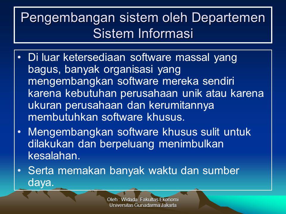 Oleh : Widada Fakultas Ekonomi Universitas Gunadarma Jakarta Pengembangan sistem oleh Departemen Sistem Informasi Di luar ketersediaan software massal
