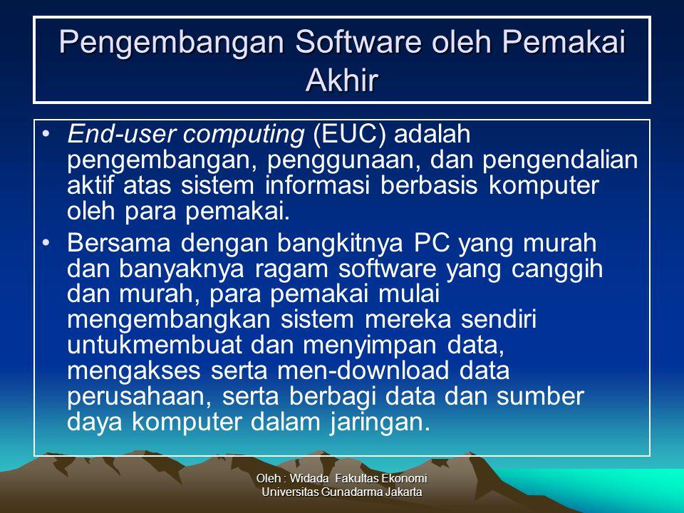 Oleh : Widada Fakultas Ekonomi Universitas Gunadarma Jakarta Pengembangan Software oleh Pemakai Akhir End-user computing (EUC) adalah pengembangan, pe
